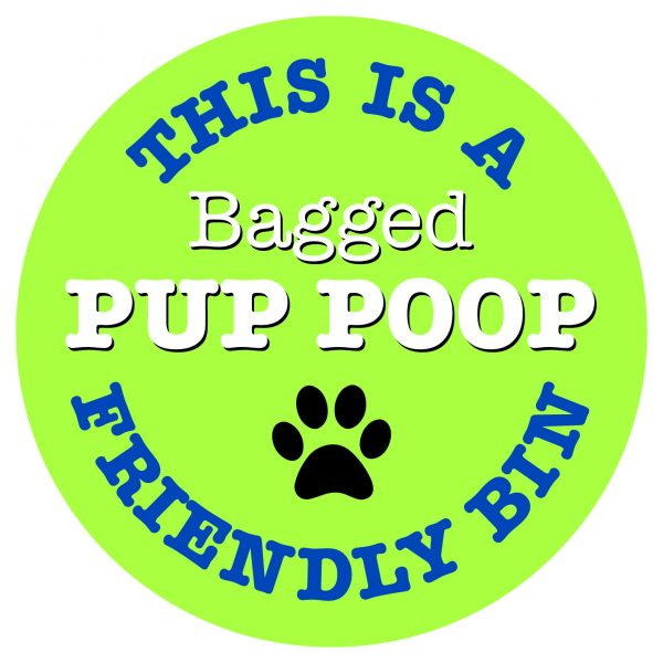 This is a Bagged Pup Poop Friendly Bin