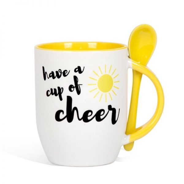 "Mug with a spoon with ""Have a cup of cheer"" text"