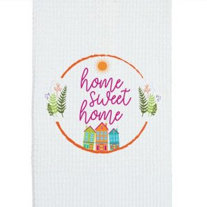 Teal Towel with Home Sweet Home design