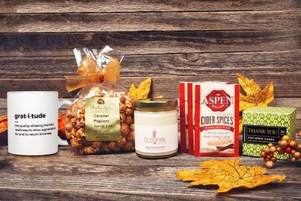 Thanksgiving box with caramel popcorn display photo