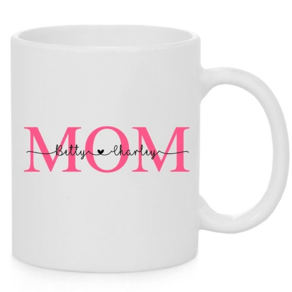 Mug with Mom text and names of two children