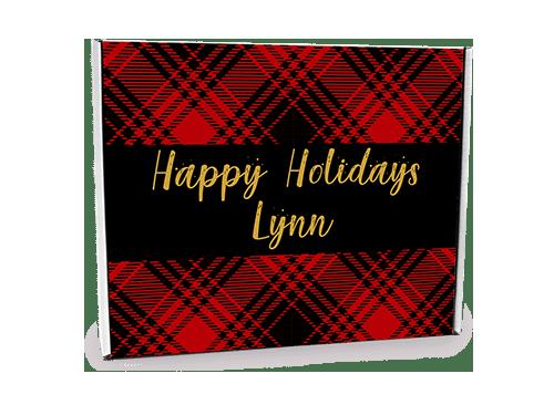 Happy Holidays Plaid Custom Gift Box